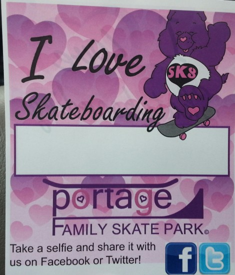 $5.00 Donation Tag, Post a Selfie on facebook.com/portageskatepark or twitter.com/portagesk8park print and even make your donation via paypal @ https://portageskatepark.org/donations/