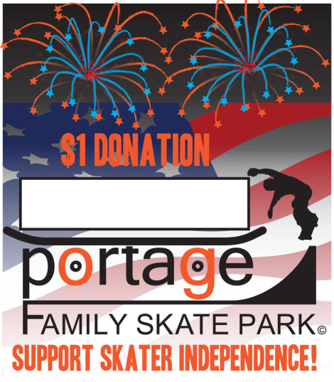 This July show your support for skater independence. Donate a $1 or $5 and take a photo with the tag an upload it to facebook.com/portageskatepark